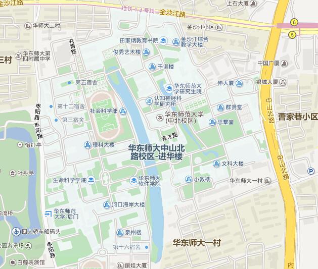 华东师范大学中山北路校区地图